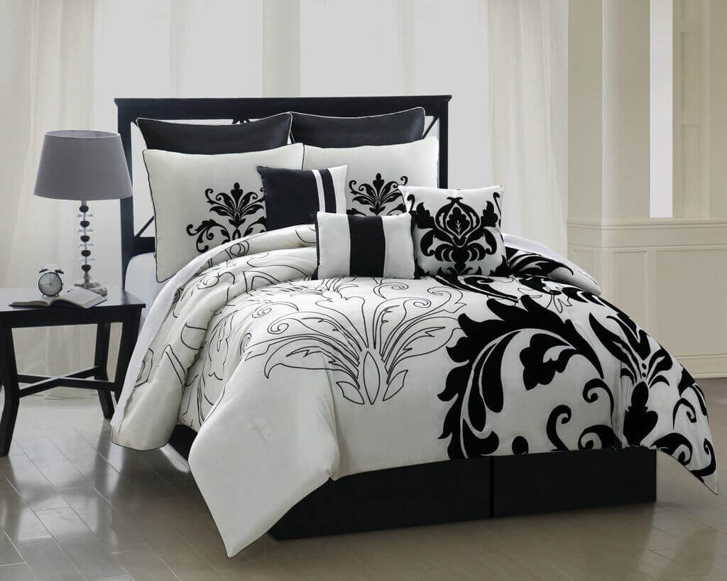Bed sheet set black and white - 8 Pieces Luxury Comforter Set Black N White 8 Pieces Luxury Comforter Set Black N